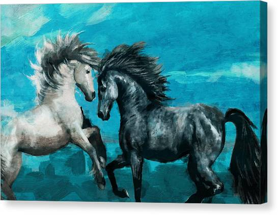 Polo Canvas Print - Horse Paintings 011 by Catf
