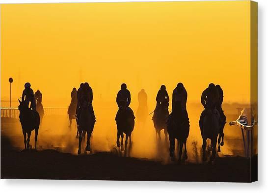 Horse Racing Against Clear Orange Sky Canvas Print by Bob Mccaffrey / Eyeem