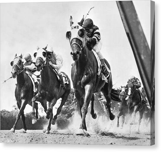 White Horse Canvas Print - Horse Racing At Belmont Park by Underwood Archives