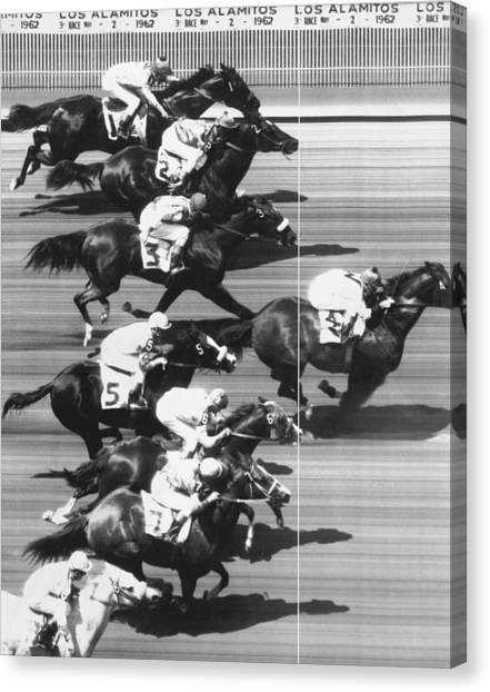 Finish Line Canvas Print - Horse Racing At Los Alamitos by Underwood Archives