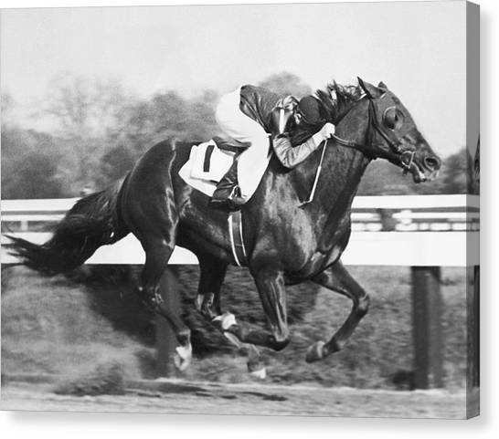 Maryland Horses Canvas Print - Horse Racing At Pimlico Track by Underwood Archives
