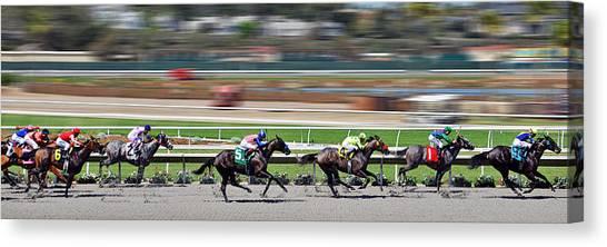 Sprint Canvas Print - Horse Racing by Christine Till