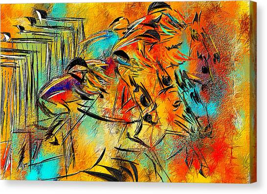 Horseracing Canvas Print - Horse Racing Colorful Abstract  by Lourry Legarde