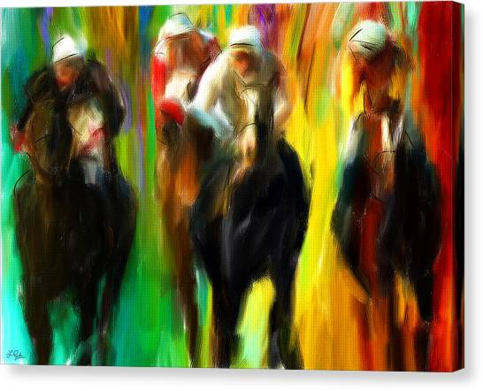 Horseracing Canvas Print - Horse Racing IIi by Lourry Legarde