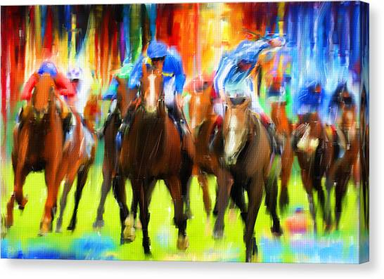 Horseracing Canvas Print - Horse Racing by Lourry Legarde