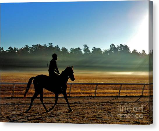 Horse Training At The Winter Colony Canvas Print