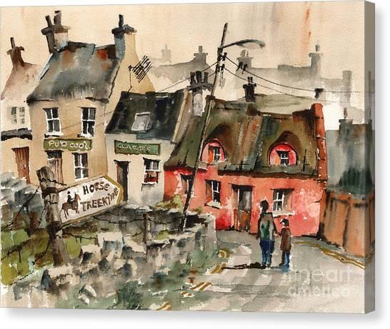 Horse Treeking In Doolin  Clare Canvas Print