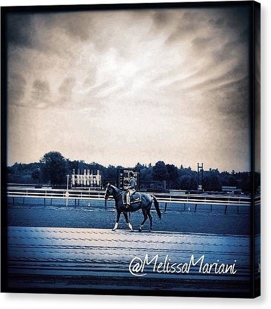 Race Horses Canvas Print - #horse#race#saratoga#track#hipstamatic by Melissa Mariani