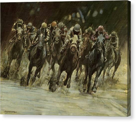 Race Horses Canvas Print - Horseracing In Rain by Don  Langeneckert