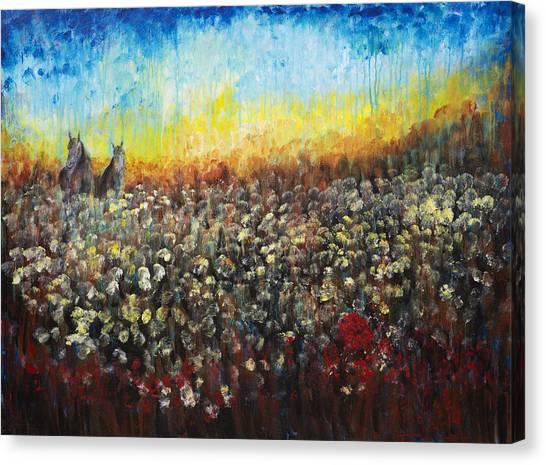 Horses And Dandelions Canvas Print