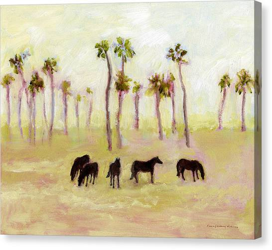 Horses And Palm Trees Canvas Print