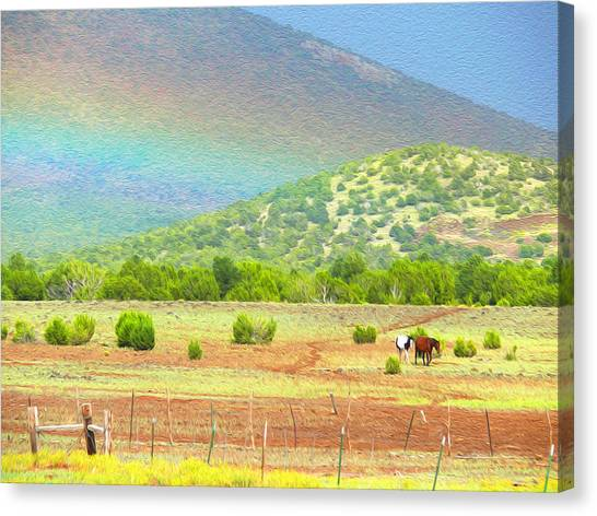Horses At The End Of The Rainbow Canvas Print