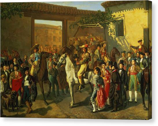 Mastiffs Canvas Print - Horses In A Courtyard By The Bullring Before The Bullfight, Madrid, 1853 Oil On Canvas Detail by Manuel Castellano