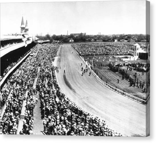 Kentucky Derby Canvas Print - Horses In Action At Vintage Churchill Downs Race by Retro Images Archive