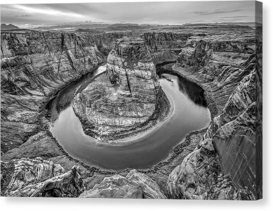 Horseshoe Bend Arizona Black And White Canvas Print