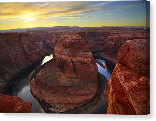 Horseshoe Bend At Sunset Canvas Print