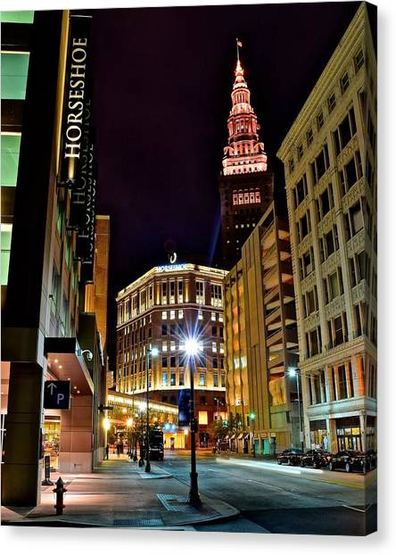Cleveland State University Canvas Print - Horseshoe Casino by Frozen in Time Fine Art Photography