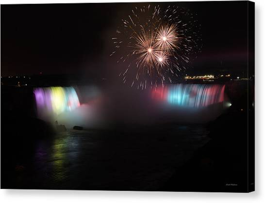 Horseshoe Falls With Fireworks Canvas Print