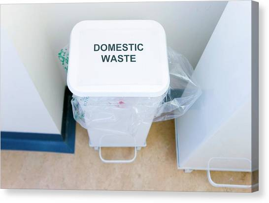 Rubbish Bin Canvas Print - Hospital Waste Bin by Gustoimages/science Photo Library