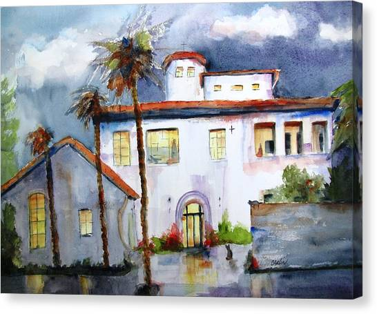 Missions California Canvas Print - Hospitality House by Carlin Blahnik CarlinArtWatercolor