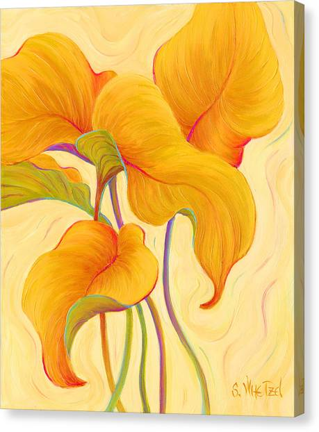 Canvas Print featuring the painting Hosta Hoofers by Sandi Whetzel