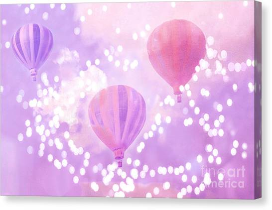Hot Air Balloons Canvas Print - Surreal Dreamy Hot Air Balloons Lavender Purple Carnival Festival Art - Child Baby Girl Nursery Art by Kathy Fornal