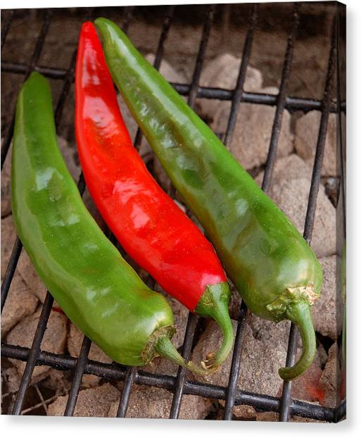 Hot And Spicy - Chiles On The Grill Canvas Print