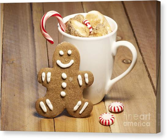 Hot Chocolate Toasted Marshmallows And A Gingerbread Cookie Canvas Print