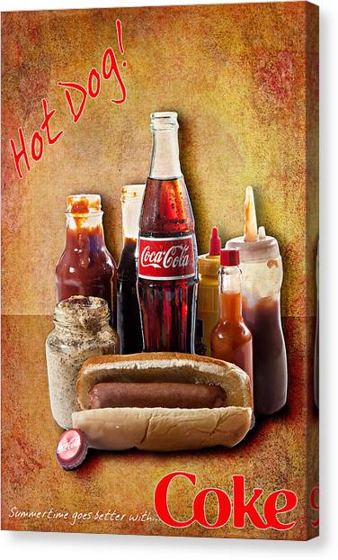 Hot Dog And Cold Coca-cola Canvas Print