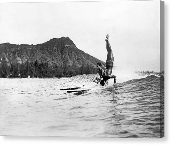 Acrobatic Canvas Print - Hot Dog Surfers At Waikiki by Underwood Archives