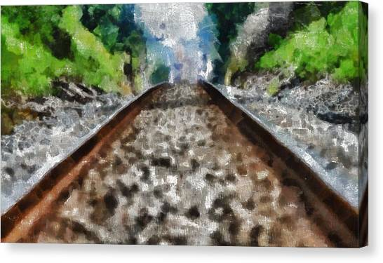 Train Conductor Canvas Print - Hot Railroad Tracks Summer Day by Dan Sproul