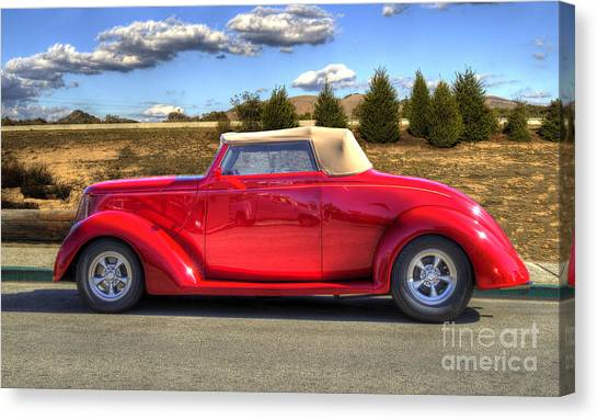 Hot Red Car Canvas Print