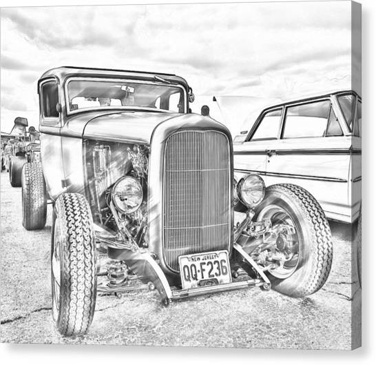 Hot Rod Faux Sketch Canvas Print