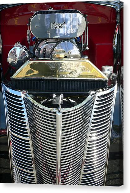 Canvas Print featuring the photograph Hot Rod Polished Steel Engine And Grill by Jeff Lowe
