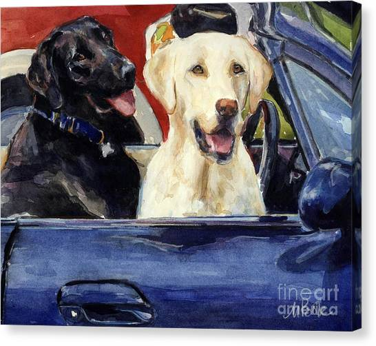 Yellow Lab Canvas Print - Hot Wheels by Molly Poole