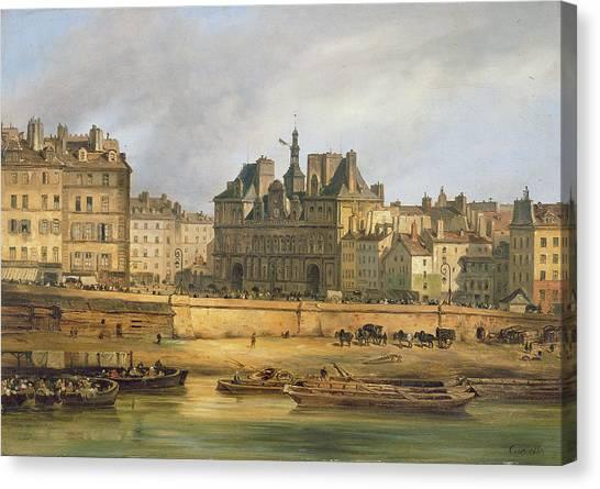 Parisian Canvas Print - Hotel De Ville And Embankment, Paris, 1828 Oil On Canvas by Guiseppe Canella