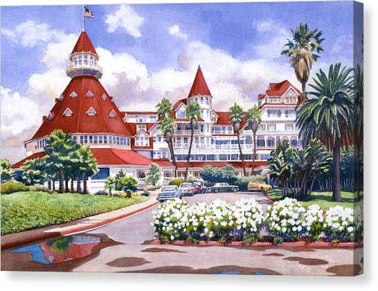 Tourist Canvas Print - Hotel Del Coronado After Rain by Mary Helmreich
