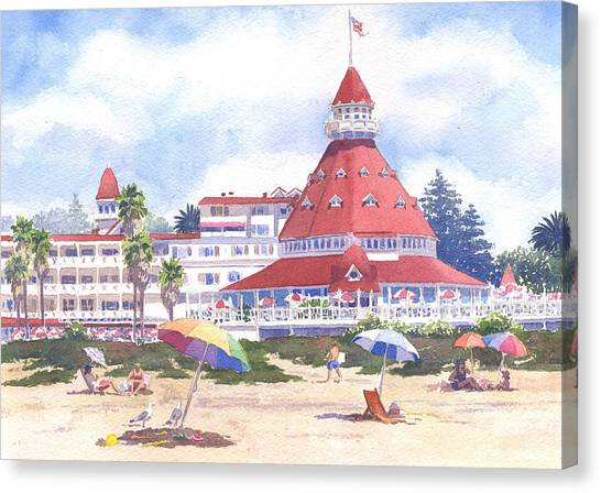 California Canvas Print - Hotel Del Coronado Beach by Mary Helmreich