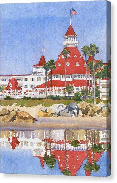 California Canvas Print - Hotel Del Coronado Reflected by Mary Helmreich