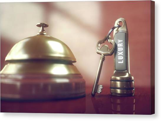 Hotel Key And Bell Canvas Print by Ktsdesign/science Photo Library