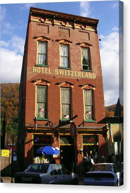 Hotel Switzerland In Jim Thorpe Pa Canvas Print by Jacqueline M Lewis