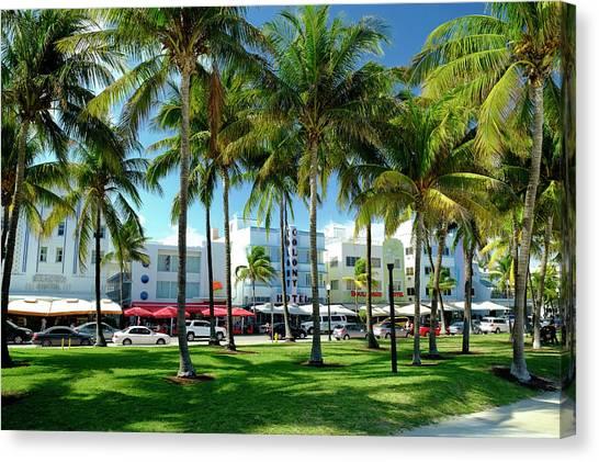 Hotels At Ocean Drive, South Beach Canvas Print