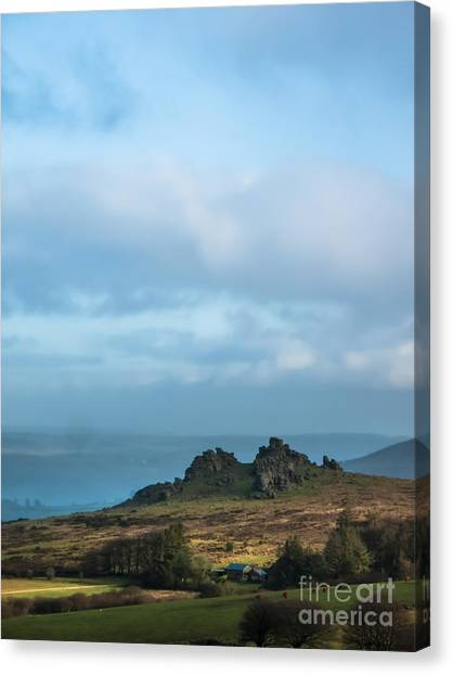 Moorland Canvas Print - Hound Tor On Dartmoor  by Jan Bickerton