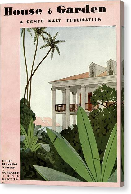 House & Garden Cover Illustration Canvas Print