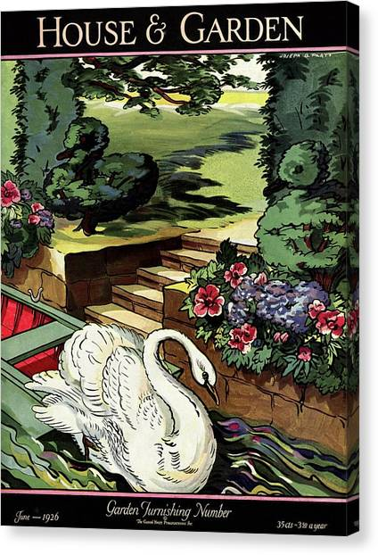 House & Garden Cover Illustration Of A Swan Canvas Print