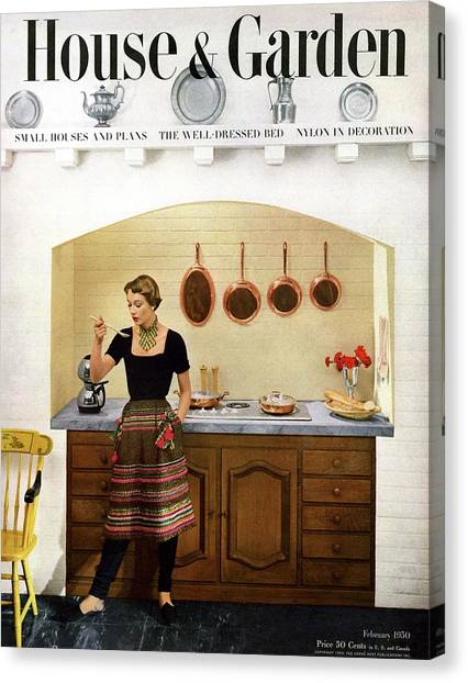 Tasting Canvas Print - House And Garden Featuring A Woman Cooking by Herbert Matter