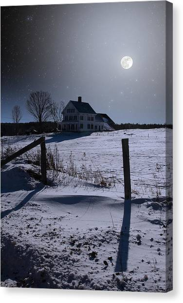 House At Night Canvas Print