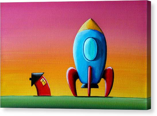Outer Space Canvas Print - House Builds A Rocketship by Cindy Thornton