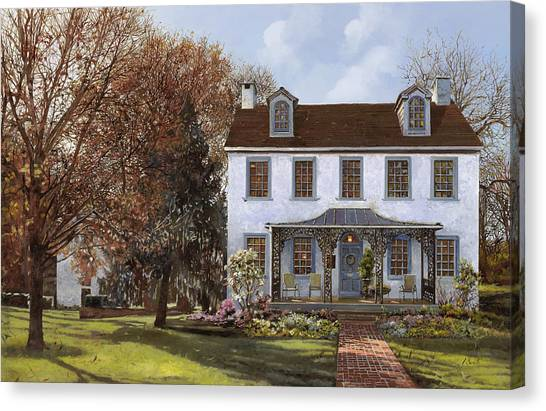 Named Canvas Print - house Du Portail  by Guido Borelli