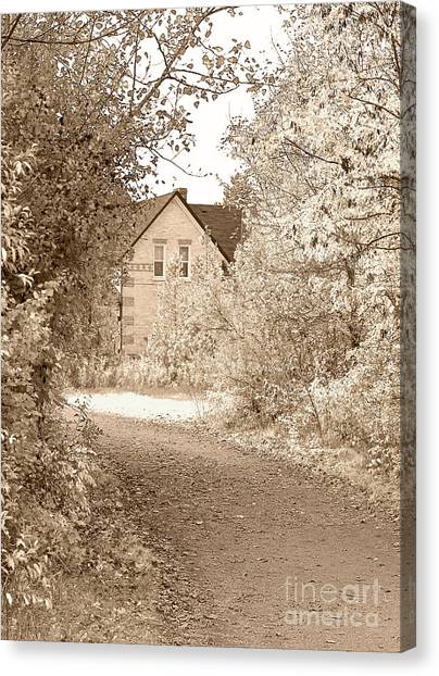 Dirt Road Canvas Print - House In Autumn by Blink Images